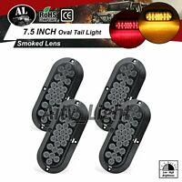"2 Amber + 2 Red Smoked Lens 6"" Oval Truck Lamp 12V 24 LED Stop Turn Tail Light"