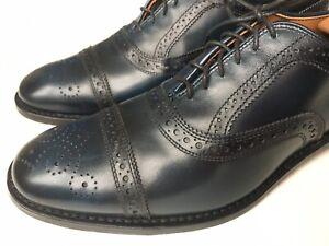 Allen Edmonds Strand Midnight Blue Leather Cap Toe Brogue Oxford Size 11 D $400