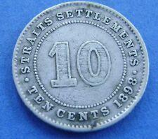 Straits Settlements 10 cents ten cents 1898 KM# 11