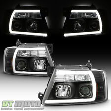 NEW Black 2004 2005 2006 2007 2008 Ford F150 LED Light Tube Projector Headlights