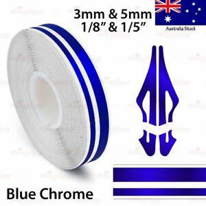 "9/16"" Vinyl Pinstriping PinStripe Styling Double Tape Sticker 15mm BLUE CHROME"