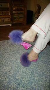 Vintage retro fluffy mule slippers Hausschuhe Jahrgang,Pantoufles moelleus uk 3