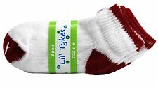 12 PAIRS Lil' TYKES SIZE 1-3 KIDS SOCKS 80% COTTON 20% NYLON RED AND WHITE