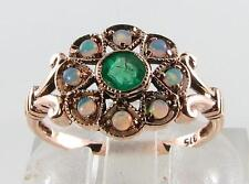 SUN MOON STAR 9CT ROSE GOLD COLOMBIAN EMERALD & OPAL RING FREE RESIZE