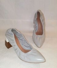 ZARA WOMEN Gray Leather Block Heel Pointed Toe Shoes Sz 40 US 9