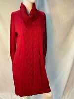 NEW LENNIE for NINA LEONARD Solid Red Cable Knit Pattern Sweater Dress, L