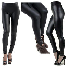A-Express® HIGH WAIST Wet Faux Leather Look Matt Leggings Jeggings Tight Pants