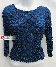 Dark Imperial Blue Stretchy Long Sleeve Popcorn Top Blouse Shirt