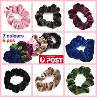 5pc/ Velvet Scrunchie Ponytail Holder MULTICOLOUR Elastic Hair Tie Kids Hairband