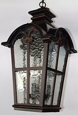 large oil rubbed bronze ORB outdoor hanging drop light clear wavy glass