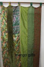 Indian Old Sari Patchwork Curtain Drape Window Decor Silk Sari Curtain Green