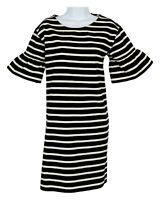 J Crew Womens Ruffled Bell Sleeve Shift Striped Dress L F0160 Black Champagne
