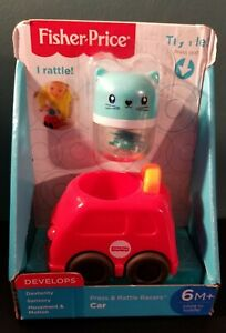 NIB Fisher Price Press & Rattle Racers Car 6m+ Kitty Pal Rattle Red Car FP