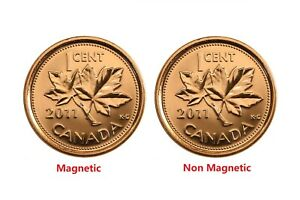Canada 2011 1 Cent Penny Magnetic and Non Magnetic Coin Set BU