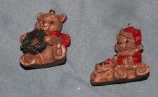 2 Tiny Teddy Bear Christmas Tree Ornaments - No Markings