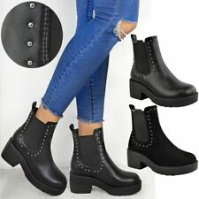 Ladies Womens Studded Low Block Chunky Heel Pull On Chelsea Ankle Boots Shoes