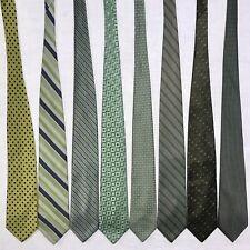 8 Men's Ties Light Green Jos A Bank Geoffrey Beene Claiborne Lime Silk Tie Lot