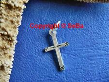 Kreuz Anhänger - in glanz / diamantiert - 18x10 mm - 925er St.-Silber (6031)