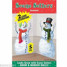 CHRISTMAS SNOWMEN SCENE SETTER FROZEN WINTER WONDERLAND PARTY SNOWMAN POSTER