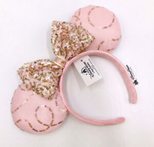 Disney Parks Minnie Ears Edition New Fantasy Pink Bow Sequins Cos Headband
