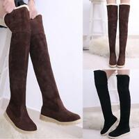 Lady Over knee High Thigh Suede Warm Winter Flat Women Knight Long Boots  Dwdy