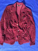 EDDIE BAUER Burgundy Wine Womens Corduroy Cord Lined Blazer Jacket Coat Size 2