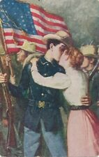 Kissing Soldier Goodbye Patriotic Postcard