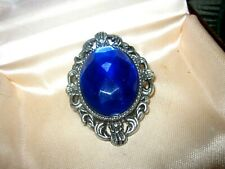 Wonderful vintage silvertone faceted sapphire blue fx crystal brooch