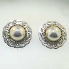 Large Circular Earrings Sterling Silver Two Tone