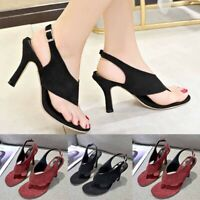 Ladies Women Summer Pumps Thong Sandals Stiletto High Heel Belt Buckle Shoes