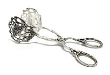 Antique 800 European Silver Ornate Floral Design Tongs 52g