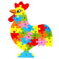 Alphabet Puzzle 3D Bois Jeu éducatif Animaux Poule Jouet Cadeau Enfant