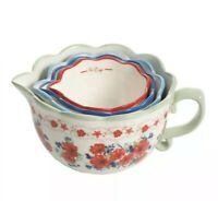 ❤️Pioneer Woman 4Pc Classic Charm Measuring Bowls Cups Stoneware Floral Kitchen