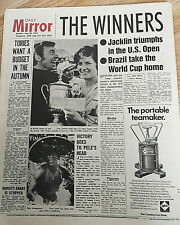 Newspaper F1 Driver Courage Golfer Tony Jacklin US Open Golf Brazil World Cup UK