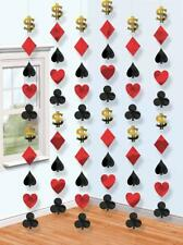 6 x 7ft Casino Suit of Cards Poker Vegas Theme Party Hanging String Decorations