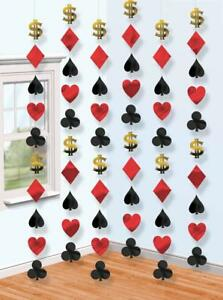 6 7ft Casino Playing Card Suits Dollar Birthday Party Hanging String Decorations