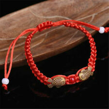 2pcs Feng Shui Red String Lucky Wooden Twin Fish Bracelet Gift Good Luck Wealth