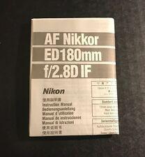 Nikon Nikkor AF 180mm f/2.8D IF ED Camera Lens - Instruction Manual