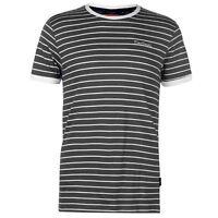 Pierre Cardin Mens Stripe Ringer T Shirt Crew Neck Tee Top Short Sleeve Cotton