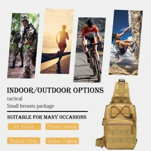 Khaki mini tactical chest bag and shoulder bag can be used for leisure, camping,