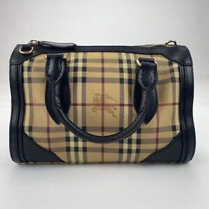 Genuine Burberry Nova Check Black Bowler Satchel Hand Bag Handbag Small Rare