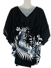 Hawaiian Plumeria Floral Tropical Black Kaftan Tunic Beach Top Cover Up M-1X NEW