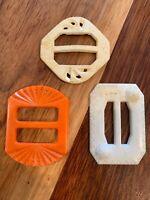 Vintage Bakelite? Cellulose? Buckles Lot Of 3 Orange Ivory White