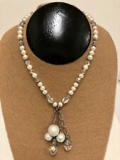 Freshwater Pearls And Clear Aurora Borealis Crystal Lariat Necklace 925 Clasp