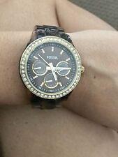 FOSSIL Women's Tortoise Shell Diamond Face Watch