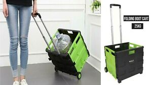 25KG Large Boot Cart Shopping Trolley Fold Up Storage Box Wheels Crate Foldable