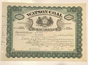 Watson Coal Company > Blairsville Pennsylvania mining stock certificate FM Graff