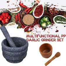 Resin Mortar Pestle Set  Garlic Herb Spice Mixing Grinding Bowl Kitchen Tool.