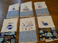 Personalized embroidered burp cloths set of 4-boy designs