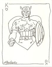 DICK AYERS SIGNED CAPTAIN AMERICA 5X7 SKETCH
